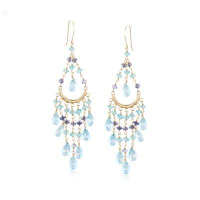 """24.60ct t.w. Multi-Gemstone Chandelier Earrings in Gold. 3 1/4"""""""
