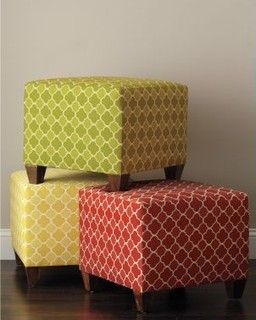 recover ottomans for office (tacks?) -- add wooden legs