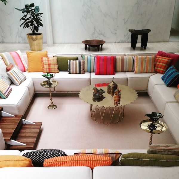 Eero Saarinen conversation pit, upholstered by Alexander Girard courtesy of Alexandra Lange: Portfolio | Miller House