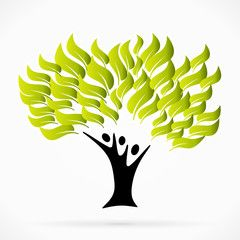 Abstract logo with green tree