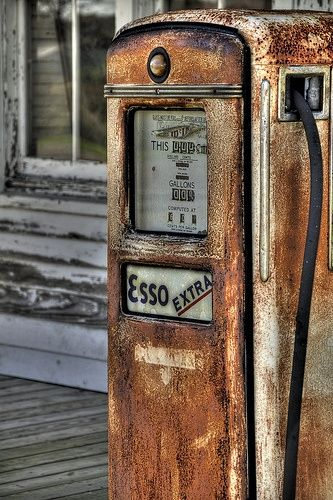 "Love this vintage Esso gas pump // Only in Germany are we allowed to get ""tax free"" gas.  If you pump gas off base, in another country, or at another non-Esso gas station, you will pay the economy gas price which will be more expensive."