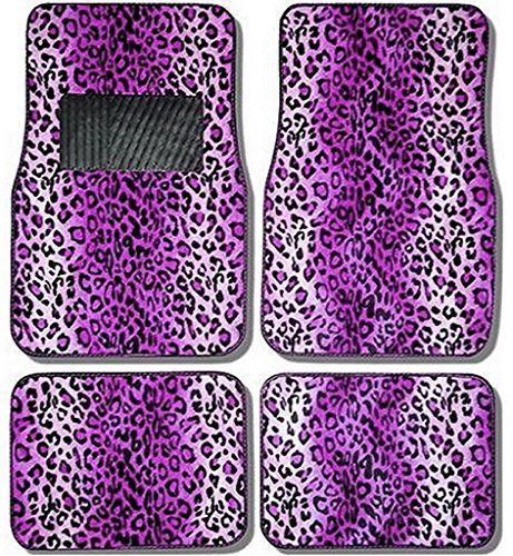 U.A.A. Inc Animal Print Premium Auto Carpet Floor Mats Set Universal-fit - Purple Leopard Print