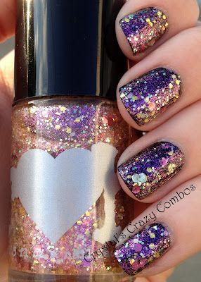 Crystal's Crazy Combos: Rainbow Honey - A Little Kindness over blackDark Nails, Nails Art, Rainbows Honey, Glitter Nails, Crazy Combos, Nails Polish, Glittery Nails, Crystals Crazy, Sparkly Nails