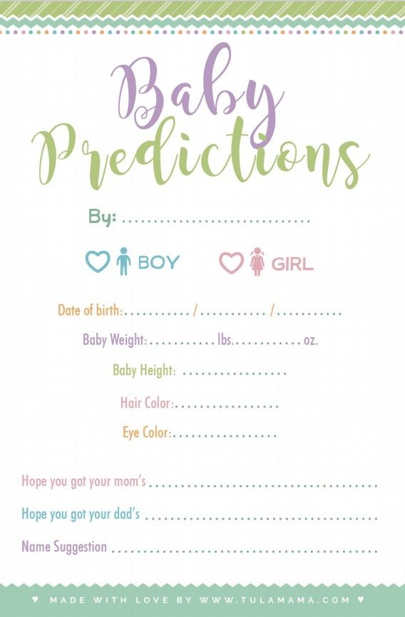 Baby Predictions Game Free Printable Baby Prediction Cards Baby Prediction Baby Shower Activities