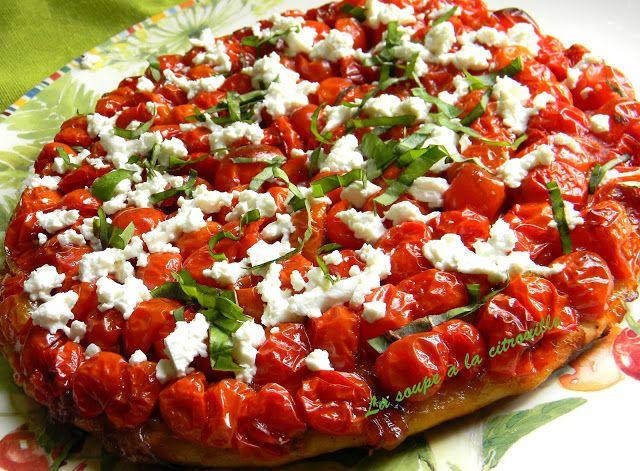 Tarte aux tomates cerises, feta et basilic