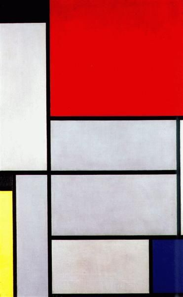 Tableau I, 1921 by Piet Mondrian. Neoplasticism. abstract. Museum Ludwig, Cologne, Germany
