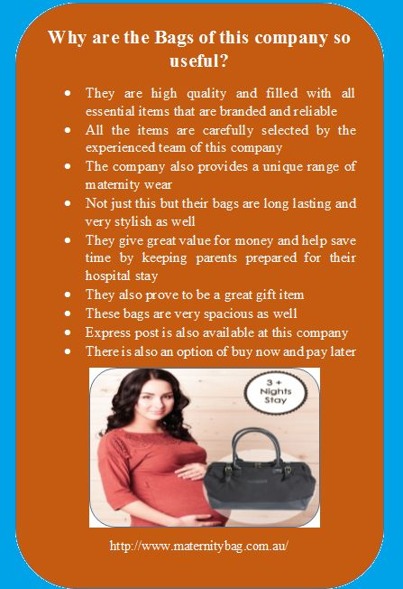 MaternityBag is a popular company in Australia that offers pre packed delivery bag online. They give great value for money and help save time by keeping parents prepared for their hospital stay
