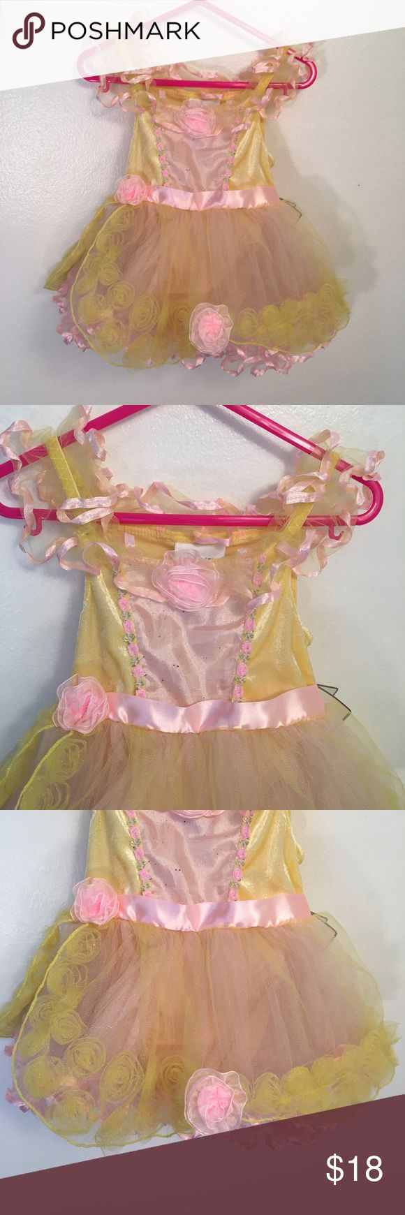 Disney Store Princess Dress Adorable princess dress from the Disney Store. Pale yellow and pink. Snaps at bottom of leotard. Disney Store Costumes