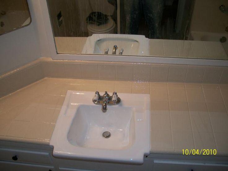PKB Reglazing   Bathroom Sink  amp  Tile Countertop  After. 1000  images about Tile Reglazing  on Pinterest   Tile countertops
