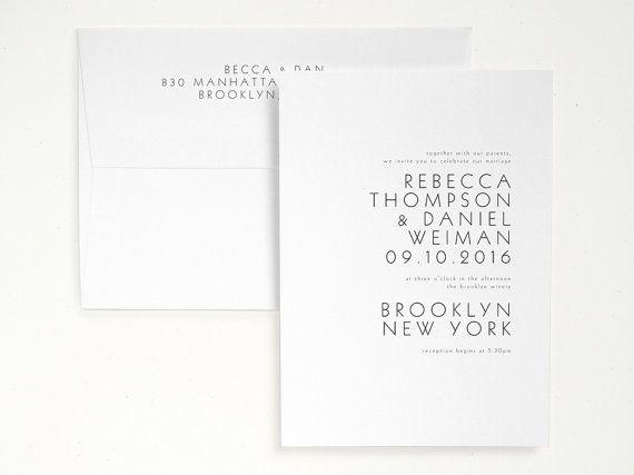 TIVOLI Letterpress Wedding Invitation Minimal by seabornpress