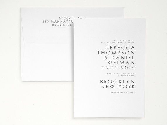 TIVOLI Letterpress Wedding Invitation Minimal by seabornpress