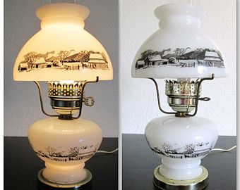 Currier and Ives Milk Glass Winter Scene Electric 3 Way Table Top Lamp!