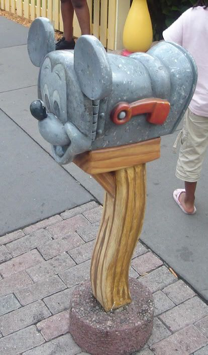i'm not sure adam would get on board with this idea... mickey mouse mailbox