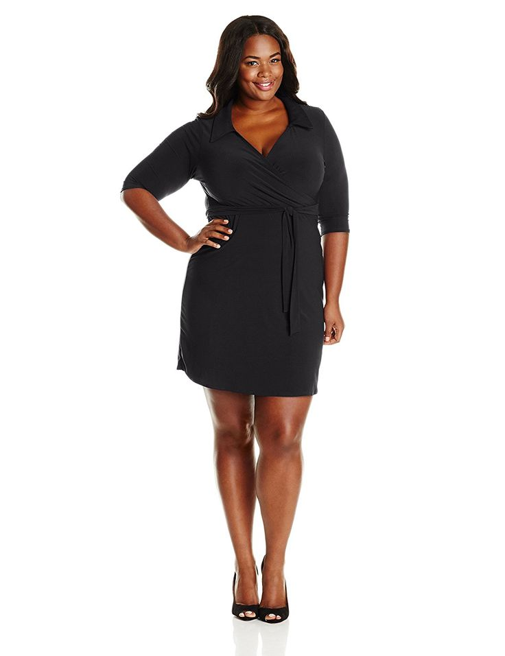 Star Vixen Women's Plus-Size Three-Quarter Sleeve Faux-Wrap Dress *** Awesome product. Click the image : Plus size dresses