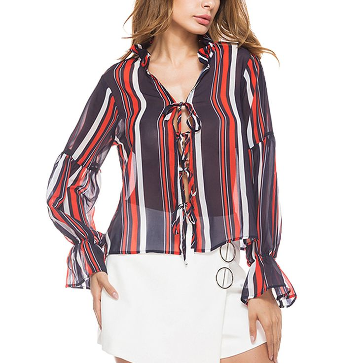 It is so cheap and looks so nice.I wonder if I should buy it! – Find The Prefect Women's Fashion for You At CuteWe Online Clothing Site, We offer Cheap Striped Lace Up Chiffon Shirt Sexy V Neck Lantern Sleeve Blouse from only US$19.99 ,Free Shipping & Money Back Guarantee!Wholesale Price, Big discounts are waiting for you, never miss!