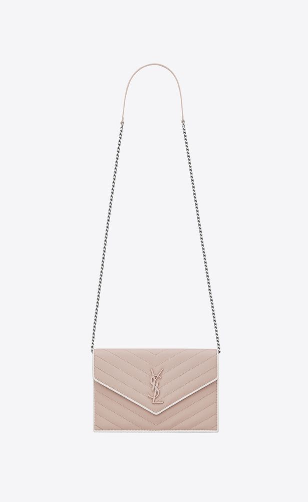 54cc1f369ba SAINT LAURENT Mini bags Enveloppe Woman envelope wallet with chain in pink  and white textured quilted leather a_V4