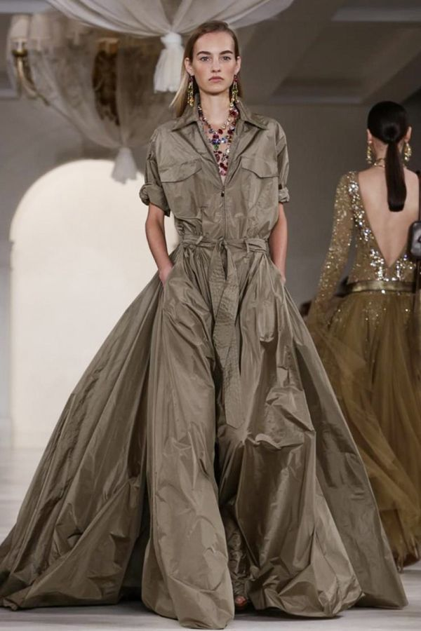 """""""Infused with his classic sportswear sensibility, this billowing safari gown is simple and gorgeous. Everything you expect from a Ralph Lauren collection."""""""