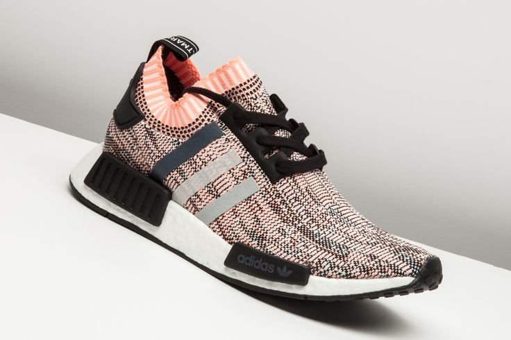 """JUST IN: The adidas NMD R1 Primeknit """"Salmon"""" are far from aquatic, but are a staple piece nonetheless.  http://www.stadiumgoods.com/nmd-r1-w-pk-cblack-onix-sun-glow-bb2361  #adidas"""