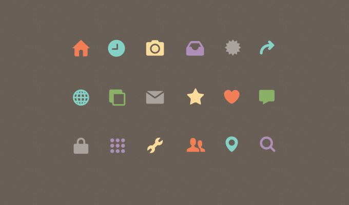 Small Colorful Icons Set Free PSD