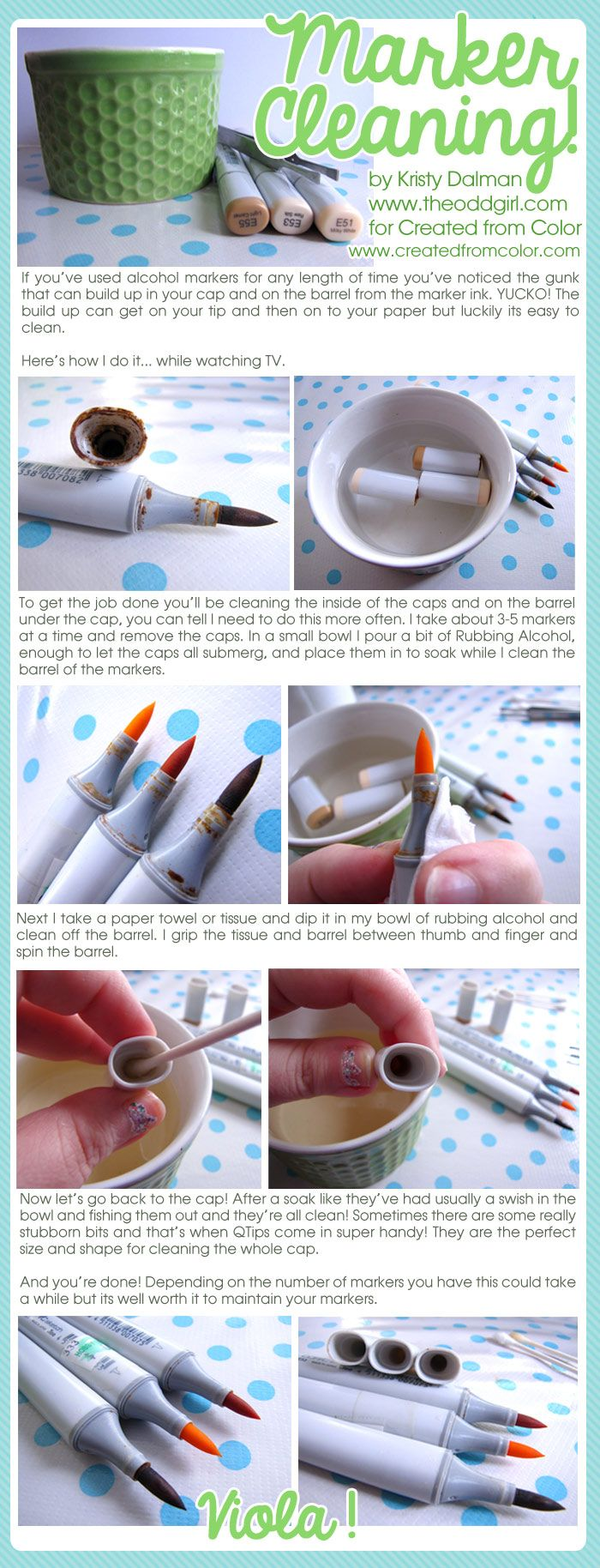 Kristy has a great tutorial on cleaning markers... I very much need to do this!!!