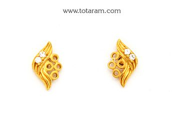 Gold Earrings for Women in 22K Gold with Cz - GER6625 - Indian Jewelry from Totaram Jewelers
