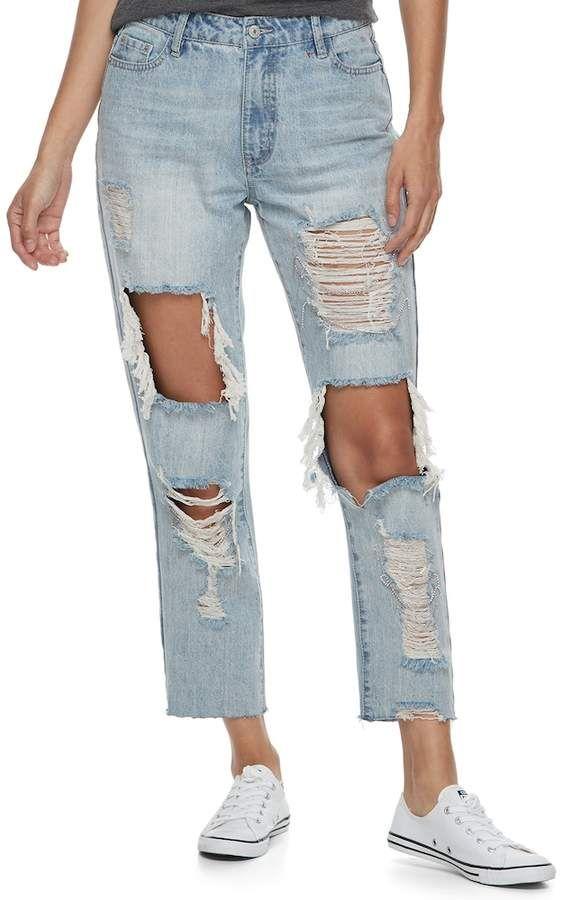 7832bb40c Juniors  Unionbay Ripped Girlfriend Jeans