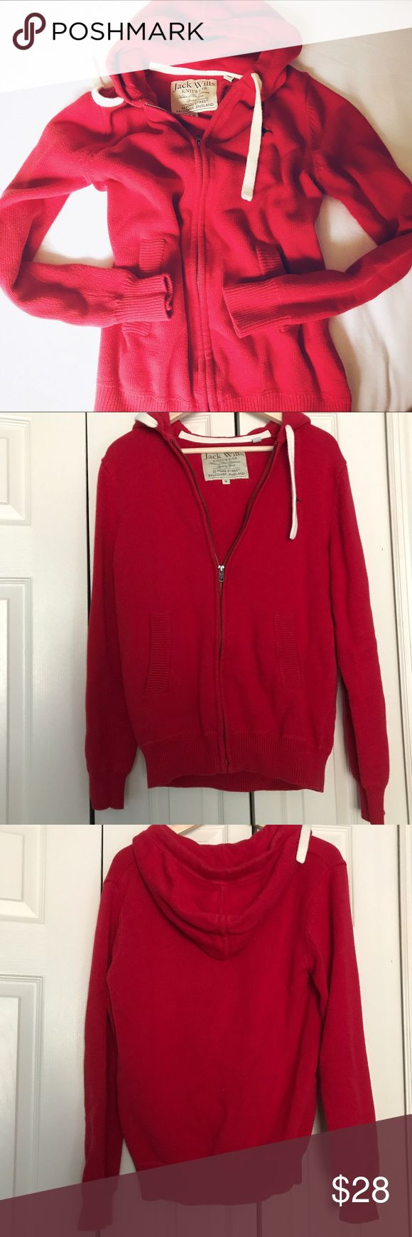 JACK WILLS Men's zip up hoodie sweater One Direction's favorite brand - Jack Wills classic red zip up  hoodie sweater! Logo is on left chest, and nothing in back.   Great condition, no flaws noticed  Cover photo is similar style for model purpose only Jack Wills Sweaters Zip Up