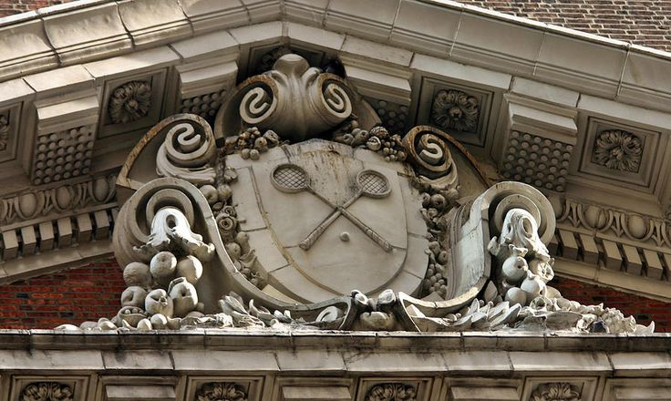 Above the 16th Street entrance of the Racquet Club of Philadelphia.