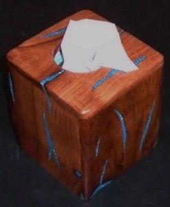 wood tissue box holder with turquoise inlay