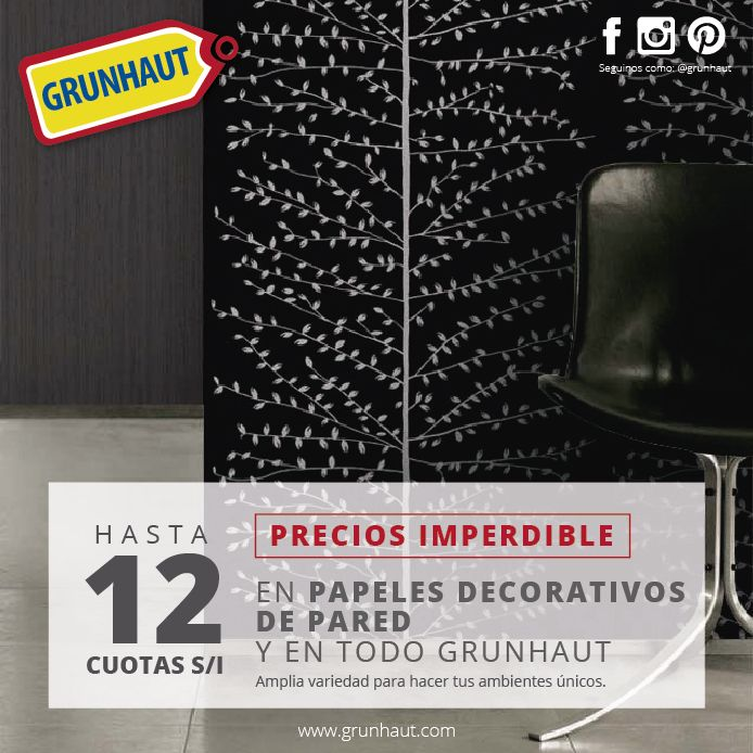 Cambiale la onda a tus paredes. Mira toda la variedad en #PapelesDecorativos que tenemos para vos! http://grunhaut.com/deco/productos.php?cat=e-vinilicos-galia Tucumán 179 - (0351) 4238022 9 de Julio 424 - (0351) 4234946 Alvear 759 - (0351) 4229819 Hipe rConstrucción Rodriguez del Busto L.207 - (0351) 4778580 #Grunhaut