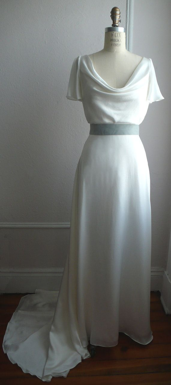 Miller Gown: Simple and timeless silk gown with cowl neck, keyhole detail, A line skirt with train