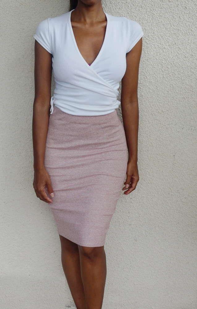 ZARA - White and red stripe tube skirt