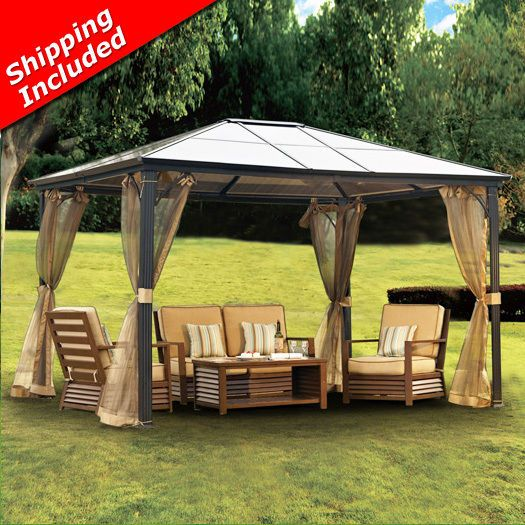 10 X 12 Hardtop Gazebo Aluminum Metal Canopy Outdoors