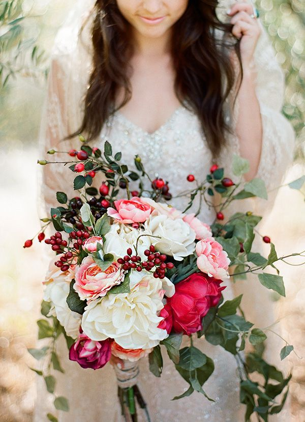 Winter can make for a most romantic bouquet with lots of lovely foliage available to create texture and a beautiful sense of whimsy, like the wild red berries in this bouquet…..