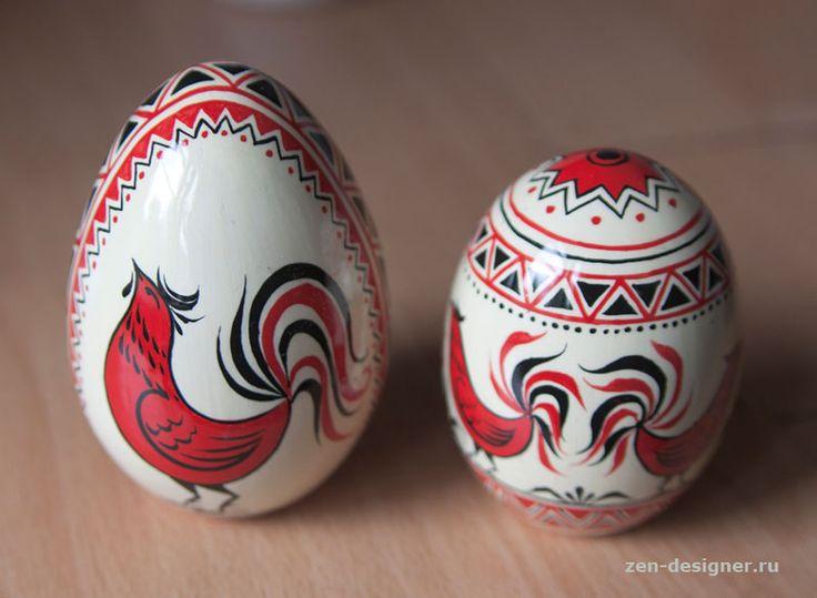 Классический мезенский сюжет пасхальных яиц - Образцы художественной росписи деревянных изделий - Zen Designer
