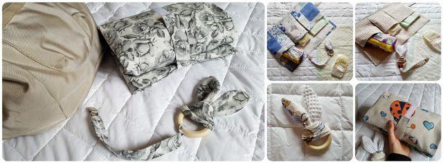 ilfilodelleidee: Porta-pannolini in tessuto (tutto per il cambio a portata di mano), giochino orecchie di coniglio e portaciuccio - changing bag, bunny-ears teether and chain pacifier