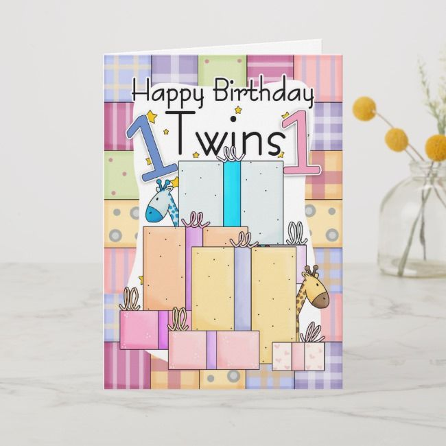 Twins First Birthday Card Gifts Zazzle Com 1st Birthday Cards First Birthday Cards Birthday Cards