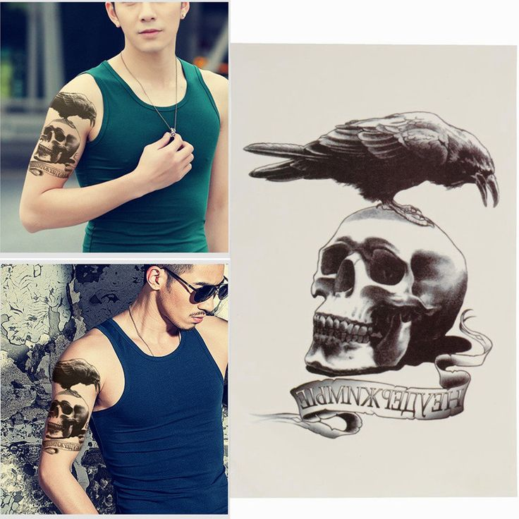 Makeup Body Art Waterproof Temporary Tattoos Sleeve Skull & Crow Cool Tough Man Temp Fake Tattoo Stickers Henna Tattoo