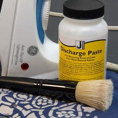 Jacquard Discharge Paste for fabric stenciling Discharging is the process of removing dye from fabric in a controlled manner.