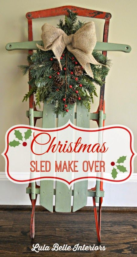 DIY Sled Decor: Turn your old sled into a beautiful, porch decoration just in time for the holidays!  Check out how Confessions of a Plate Addict adds charm to an already-owned piece!