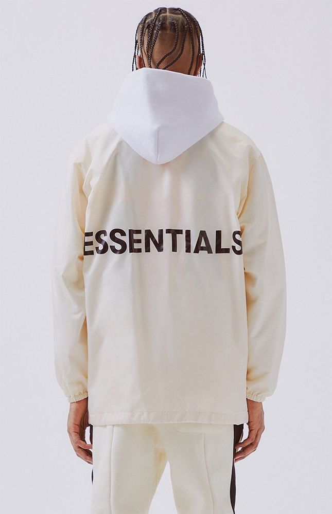 best sneakers a8648 8fce2 NWT  SOLD OUT  PacSun X Fear of God ESSENTIALS COACH JACKET Cream L LARGE  FOG 400086157757   eBay