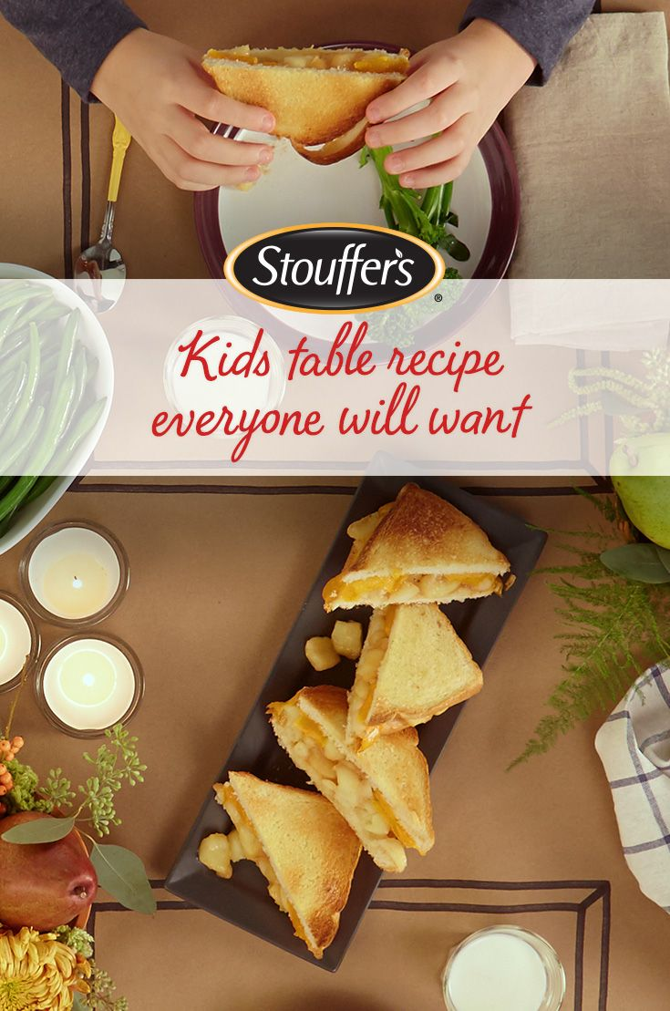f there's one thing—OK, two things— kids love, it's sandwiches and dessert. Round out your holiday dinner with a combination of both! Hot Apple Pie Sandwiches filled with Stouffer's Harvest Apples and cinnamon will be a new favorite at the kids (and adults) table.