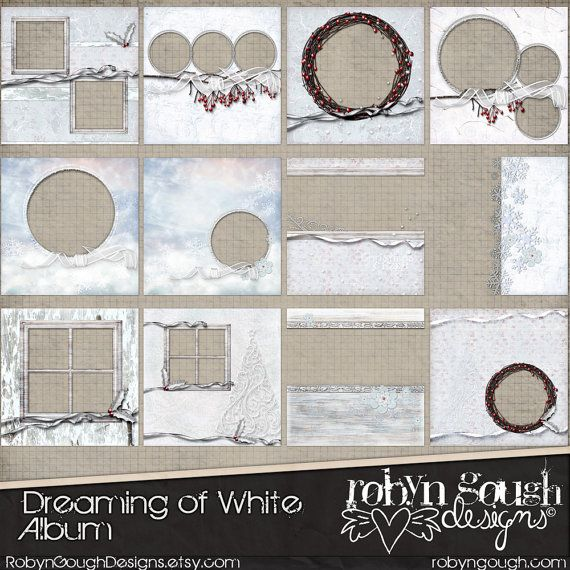 Christmas Digital Quick Page Album -  Digital Scrapbook Album, Dreaming of White - 12 Premade Layout Pages on Etsy, $9.00