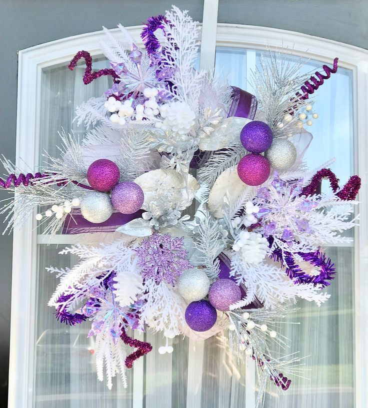 Purple Christmas Wreath- Christmas Wreath- Holiday Wreath-  Front Door Wreath- Floral Wreath- Xmas Wreath- Chicken wire Wreath- Pine Wreath by AestheticDelights on Etsy