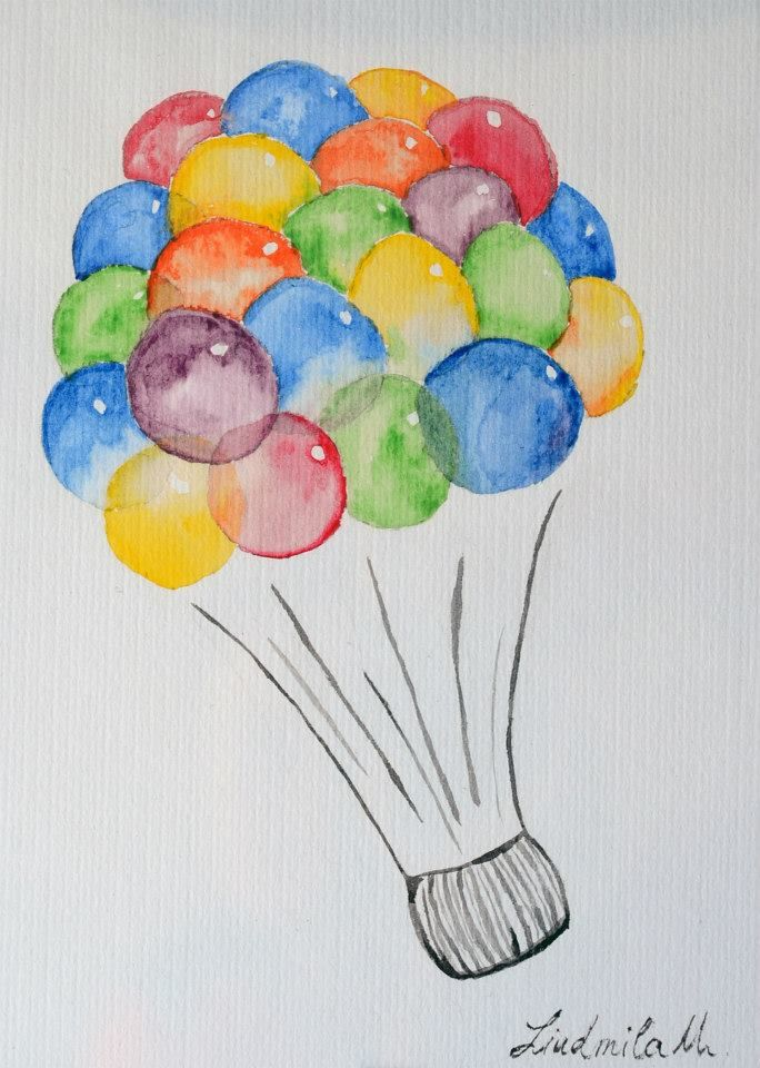 Hot-air balloon with multicolored balloons.
