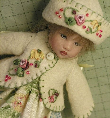 Pattern for felt embroidered jacket and hat ~ includes dress ~ for Riley Kish: Kish Dolls, Dress Patterns, Clothes Child Dolls, Doll Clothes, Doll Patterns, Felt Embjacket, Dolls Rk, Clothes Ideas, Embjacket Dress
