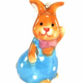 Figurina iepuras din ceramica cu agatatoare