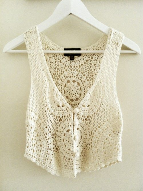 Crochet tank: Lace Tops, Style, Crop Tops, Clothing, Crochet Vest, White Lace, Summer Night, Crochet Tops, Summer Tops