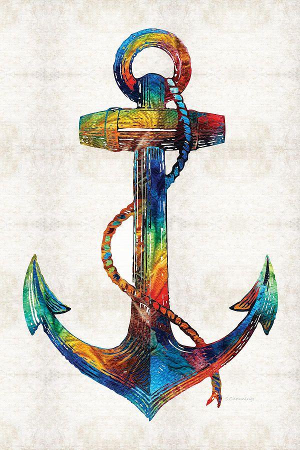 Nautical Anchor Art - Anchors Aweigh - By Sharon Cummings by Sharon Cummings #nauticalart #anchor