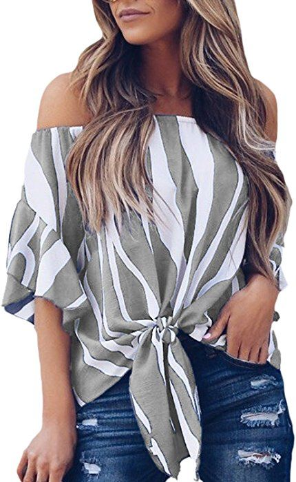f9b1c8763bc FARYSAYS Women s Striped 3 4 Bell Sleeve Off The Shoulder Front Tie Knot T Shirt  Tops Blouse Pink Large at Amazon Women s Clothing store
